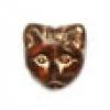 Glass Bead Cat Head 11mm Topaz/Gold Detailed - Strung